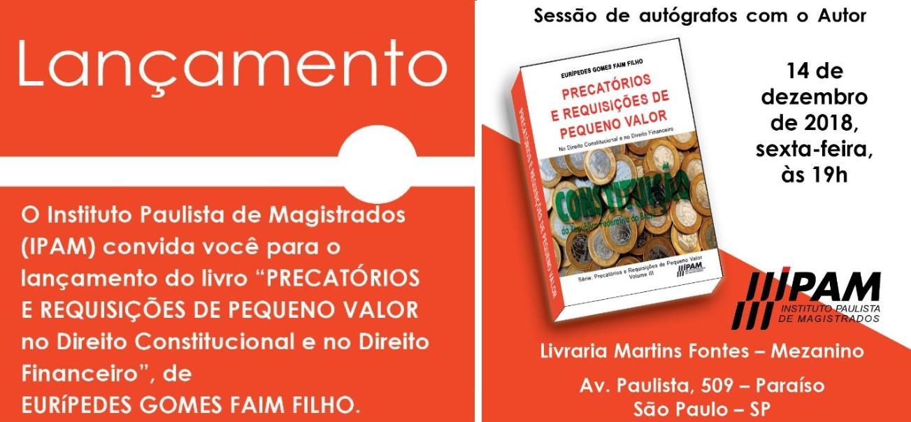 IPAM lança 3° livro da Série Precatórios e Requisições de Pequeno Valor